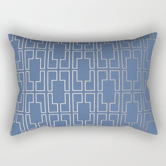Simply Mid-Century in White Gold Sands and Aegean Blue Rectangular Pillow