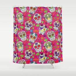 Sugar Skull Pink and Festive Shower Curtain