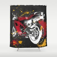 ducati Shower Curtains featuring Ducati 1098 Color Spots by Larsson Stevensem