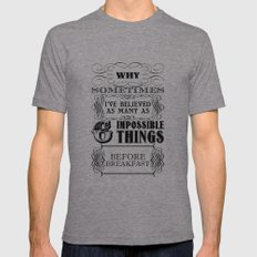 Alice in Wonderland Six Impossible Things Mens Fitted Tee LARGE Tri-Grey