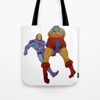 skeletor Tote Bags featuring skeletor kick by Toni Caputo