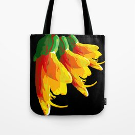 Kowhai Bunch - black background Tote Bag