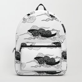Flying galaxy whale black flower Backpack