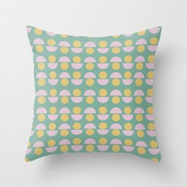 Scandinavian Geometric Pattern in Green, Lavender and Yellow Throw Pillow
