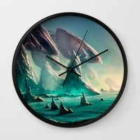 titan Wall Clocks featuring Titan Coast by Carles Marsal