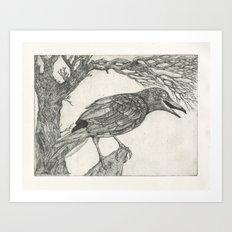 crow etching Art Print