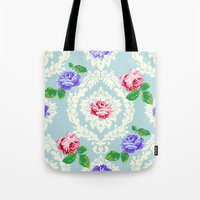 shabby chic Tote Bags featuring Shabby Chic Rose Pattern by Figen Topbas