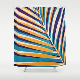 Gold and Navy Abstract Palm Frond Shower Curtain