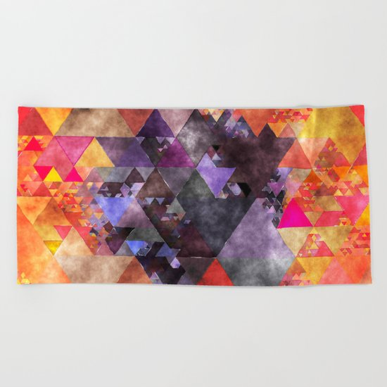 Abstract fire red yellow blue Triangle pattern- Watercolor Illustration Beach Towel