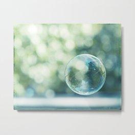 Bubble Photography, Bathroom Blue Green Art, Soap Bubbles Laundry Room Print, Bath Nursery Photo Metal Print