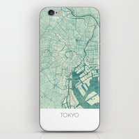 vintage map iPhone & iPod Skins featuring Tokyo Map Blue Vintage by City Art Posters