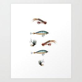 Vintage fishing lures -watercolor  Art Print