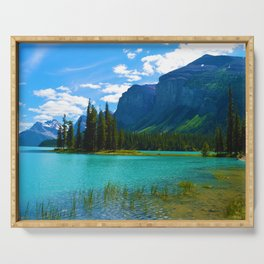 Maligne Lake in Jasper National Park, Canada Serving Tray