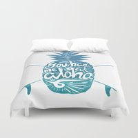 surfboard Duvet Covers featuring You had me at Aloha! by Ocean Ave // Lettering and Design