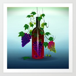 The Grapes In a Bottle. Art Print