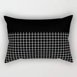 Dotted Grid Boarder Black Rectangular Pillow
