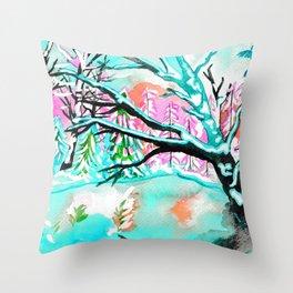 Frozen Pond Winter Landscape - Turquoise Palette Throw Pillow