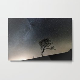 Silhouette Under Stars Metal Print