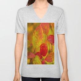 Red autumn leaves #decor #society6 Unisex V-Neck