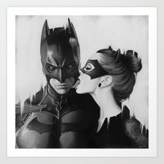BAT AND CAT b&w Art Print