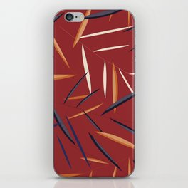 Leaves in a red background iPhone Skin