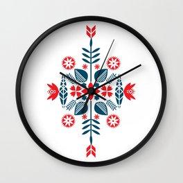 Scandinavian Folk Pattern Wall Clock