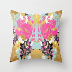 Laurel - Abstract painting in a free style with bold colors gold, navy, pink, blush, white, turquois Throw Pillow