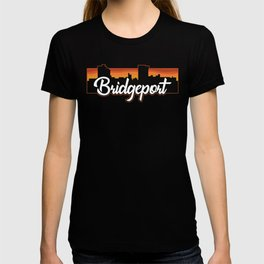 Vintage Bridgeport Connecticut Sunset Skyline T-Shirt T-shirt