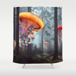 ElectricJellyfish Worlds in a Forest Shower Curtain