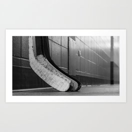 Black and white macro shot of hockey stick blades laid on a dirty arena floor Art Print