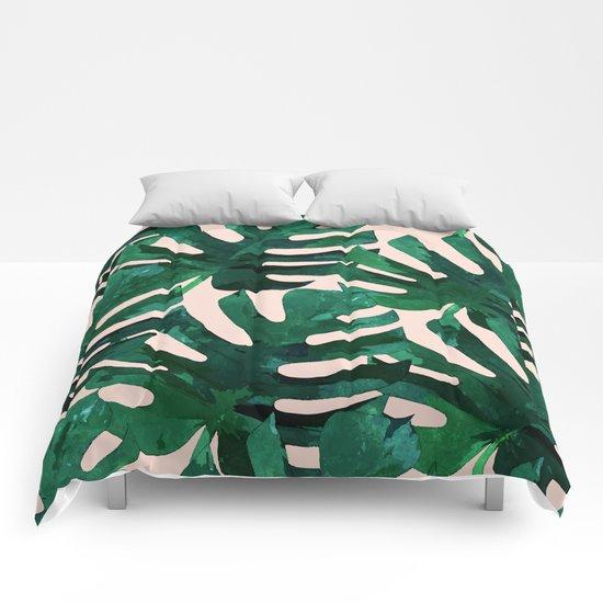 Monstera Pattern #society6 #decor #lifestyle Comforters