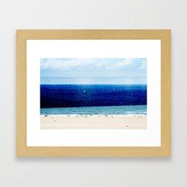 Navy Blue Beach Framed Art Print