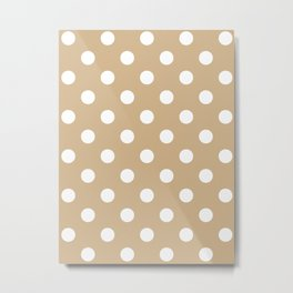 Polka Dots - White on Tan Brown Metal Print