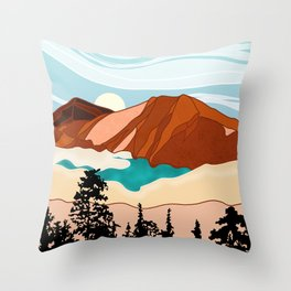 Rocky mountains in the desert Throw Pillow