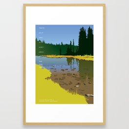 Junction Lake with Emerson quote Framed Art Print