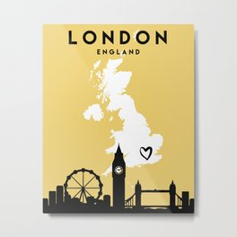 LONDON ENGLAND LOVE CITY SILHOUETTE SKYLINE ART Metal Print