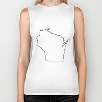 wisconsin Biker Tanks featuring Wisconsin by mrTidwell