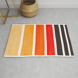 Orange Minimalist Watercolor Mid Century Staggered Stripes Rothko Color Block Geometric Art Rug