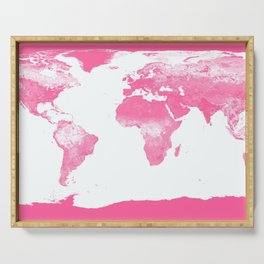 world mAp Pink Serving Tray