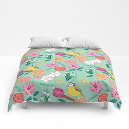 Joyful colourful floral pattern with bird Comforters