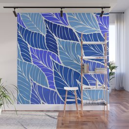 Blue Forest Leaf Pattern Wall Mural