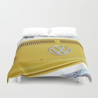 vw bus Duvet Covers featuring Yellow VW Volkswagen Bus Van by Tay Silvey