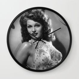 Rita Hayworth, Hollywood Starlet black and white photograph / black and white photography Wall Clock