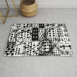 analog synthesizer system - modular black and white Rug
