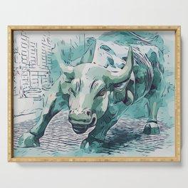 Bull Stock Exchange Bull Market Shares Shareholder Abstract Art Gift Serving Tray