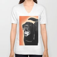 labrador V-neck T-shirts featuring Labrador Happy 2 by Jennifer Warmuth Art And Design