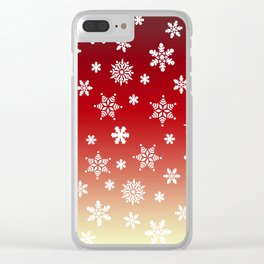 Snow Flurries-Red/Cream Ombre Clear iPhone Case
