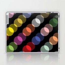 Double-Vision Multicolored Polka Dots over Black Background Laptop & iPad Skin