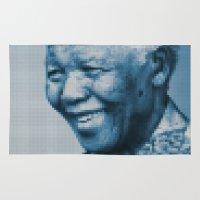 mandela Area & Throw Rugs featuring Nelson Mandela by DGTLBNG