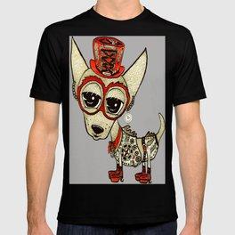 Steampunk Chihuahua gray grey T-shirt